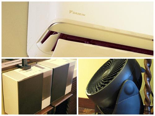 加湿エアコン、加湿器、サーキュレーター